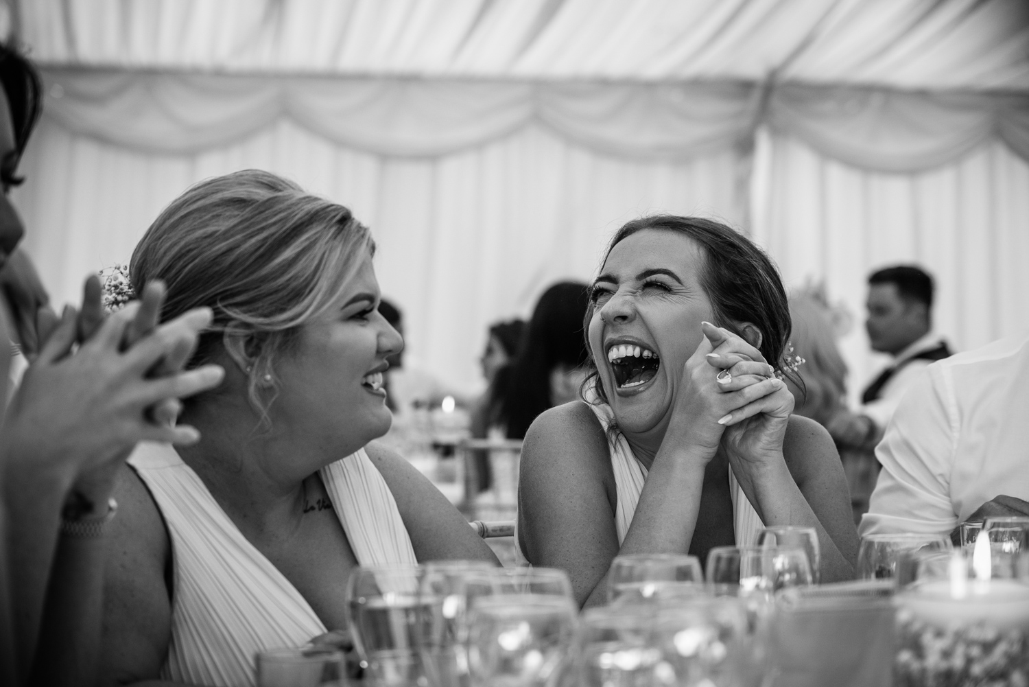 Guests with cameras at a nuns mere Hall Wedding Reception
