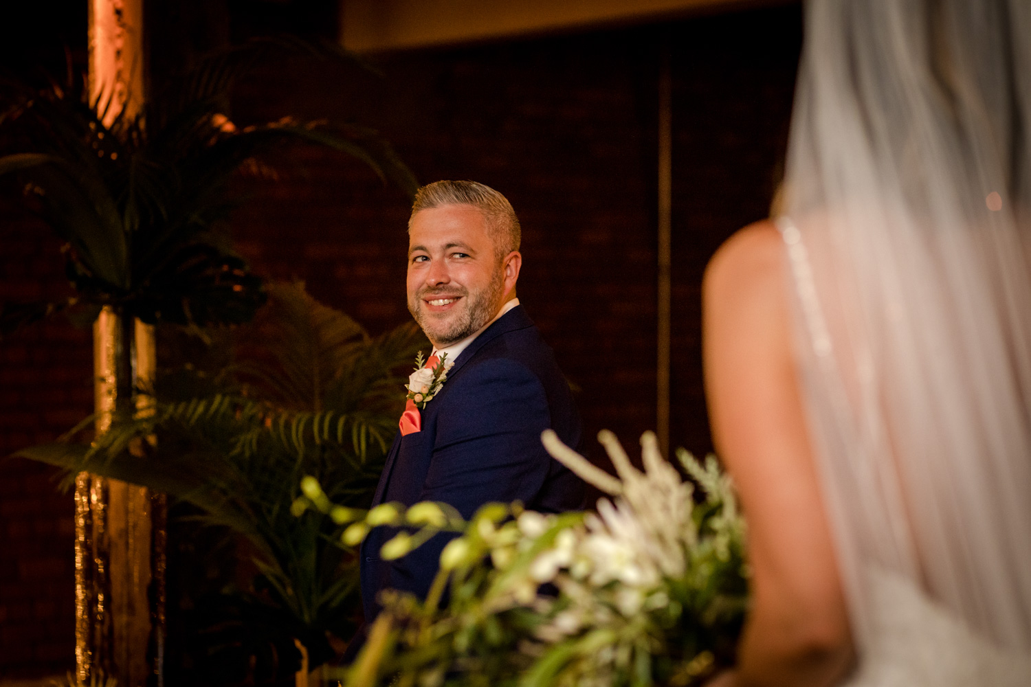 The groom during his Victoria Warehouse Wedding