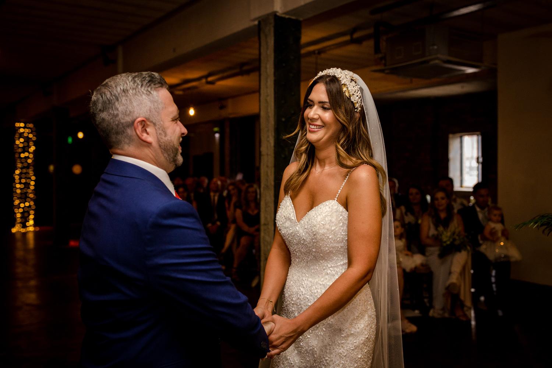 Victoria Warehouse Wedding bride and groom
