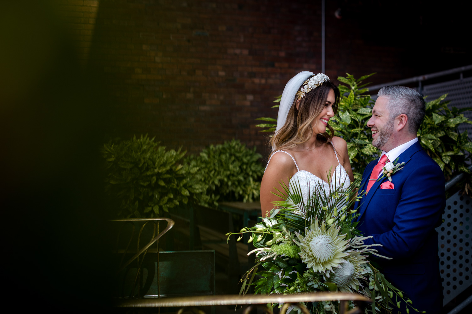 The bride and groom at a Victoria Warehouse Wedding