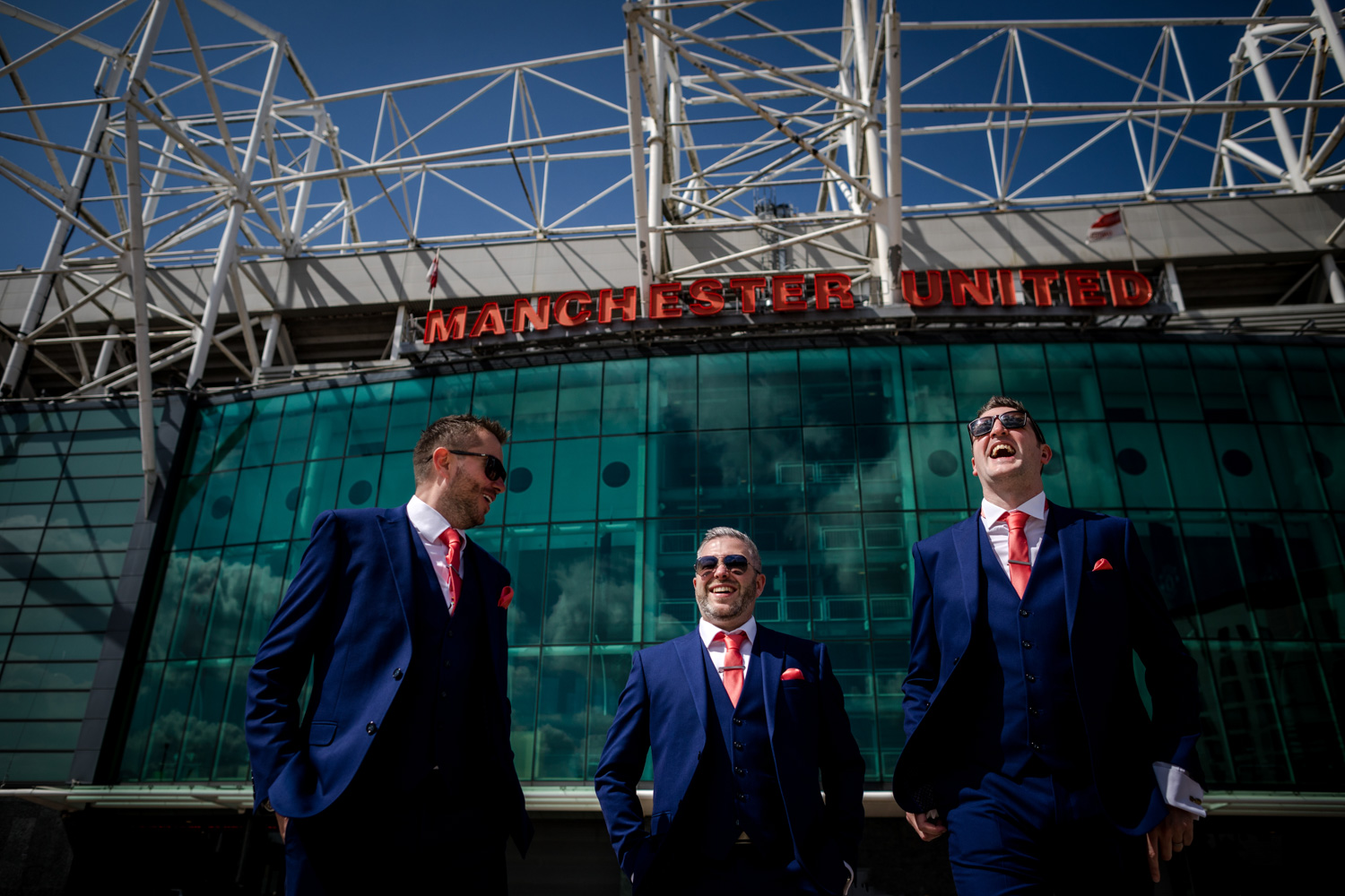 The groomsmen outside Old Trafford on the way to Victoria Warehouse