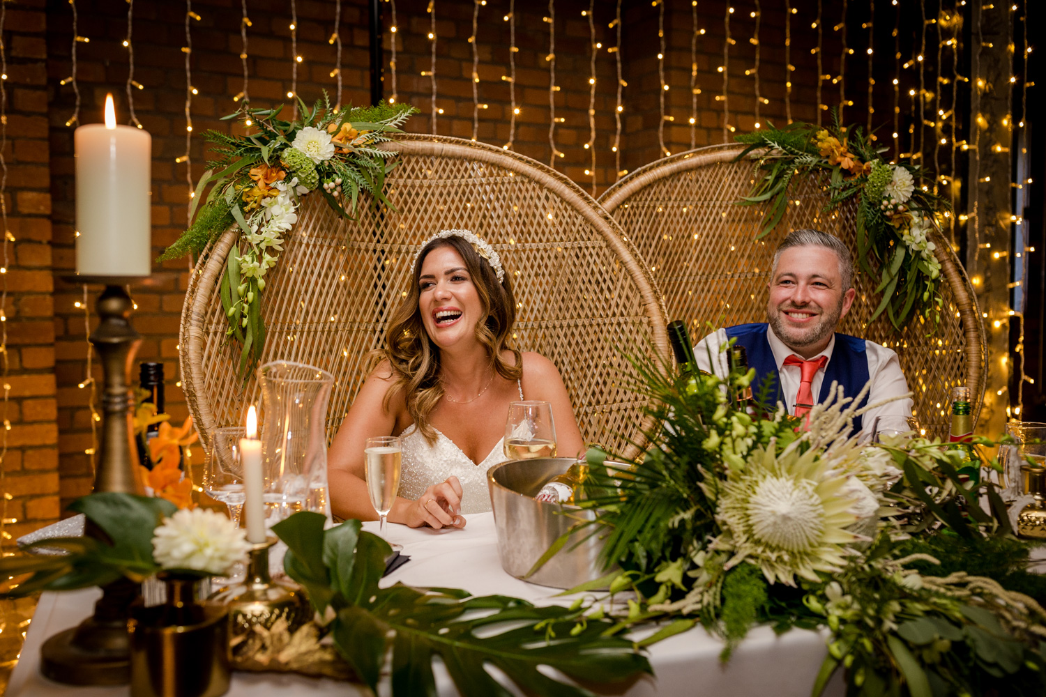 Bride and groom during the speeches