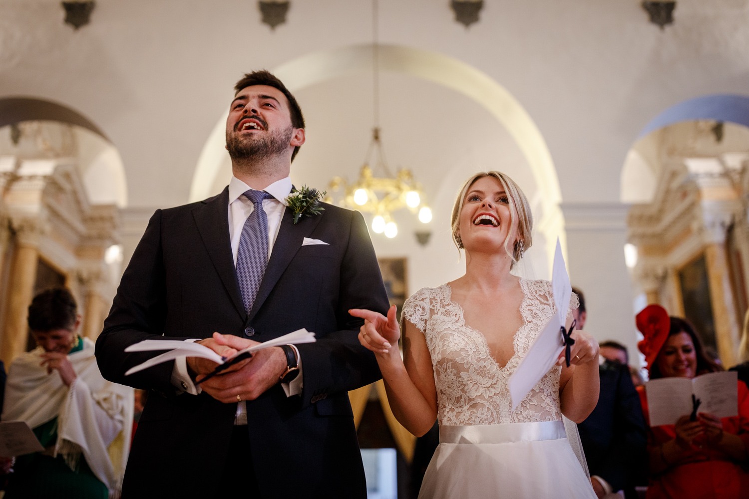 The bride and groom at the church of Certosa in Tuscany