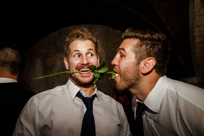 Wedding guests drunk on the dance floor at Villa Catignano