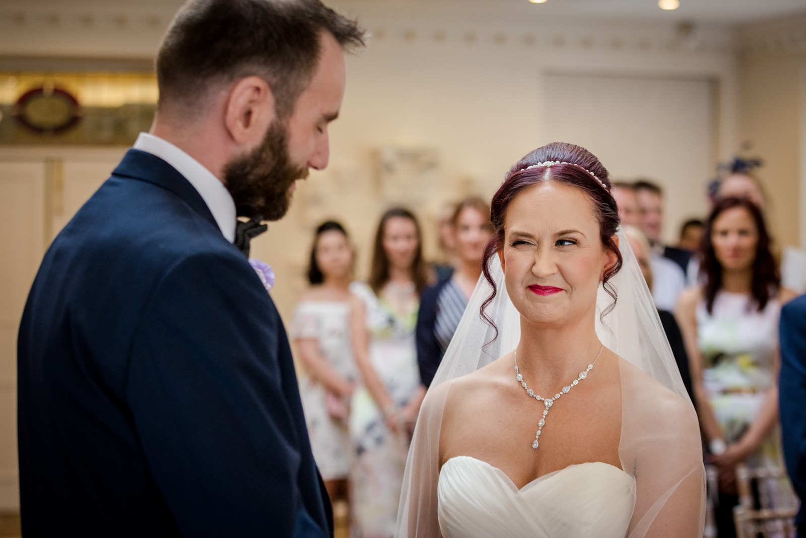 Bride and Groom during their Wedding Ceremony at Ashfield House