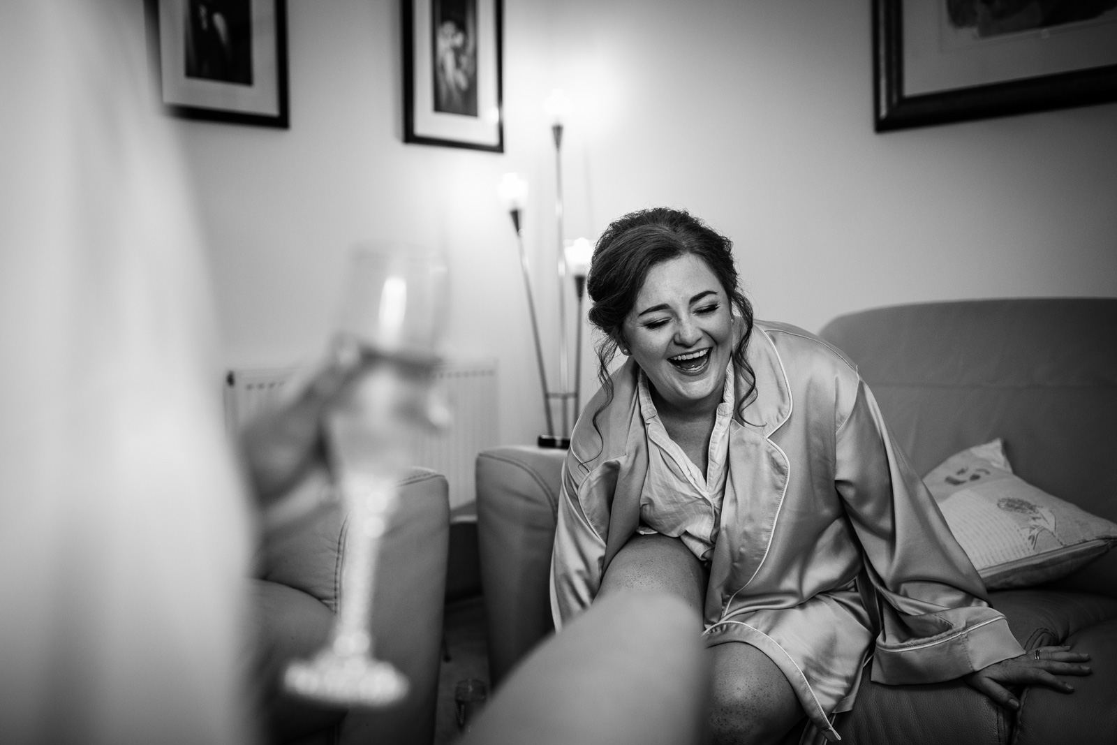 Bridesmaid during the bridal prep at a Beeston Manor Wedding