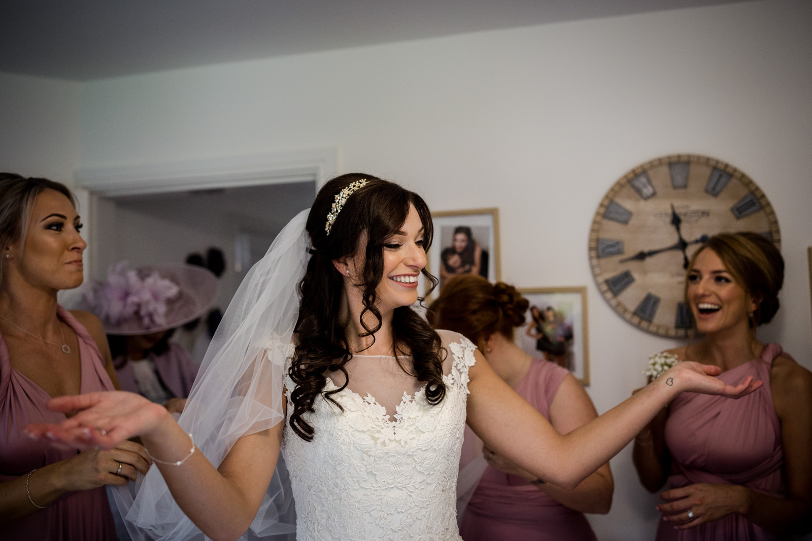 The bride getting ready at Beeston Manor