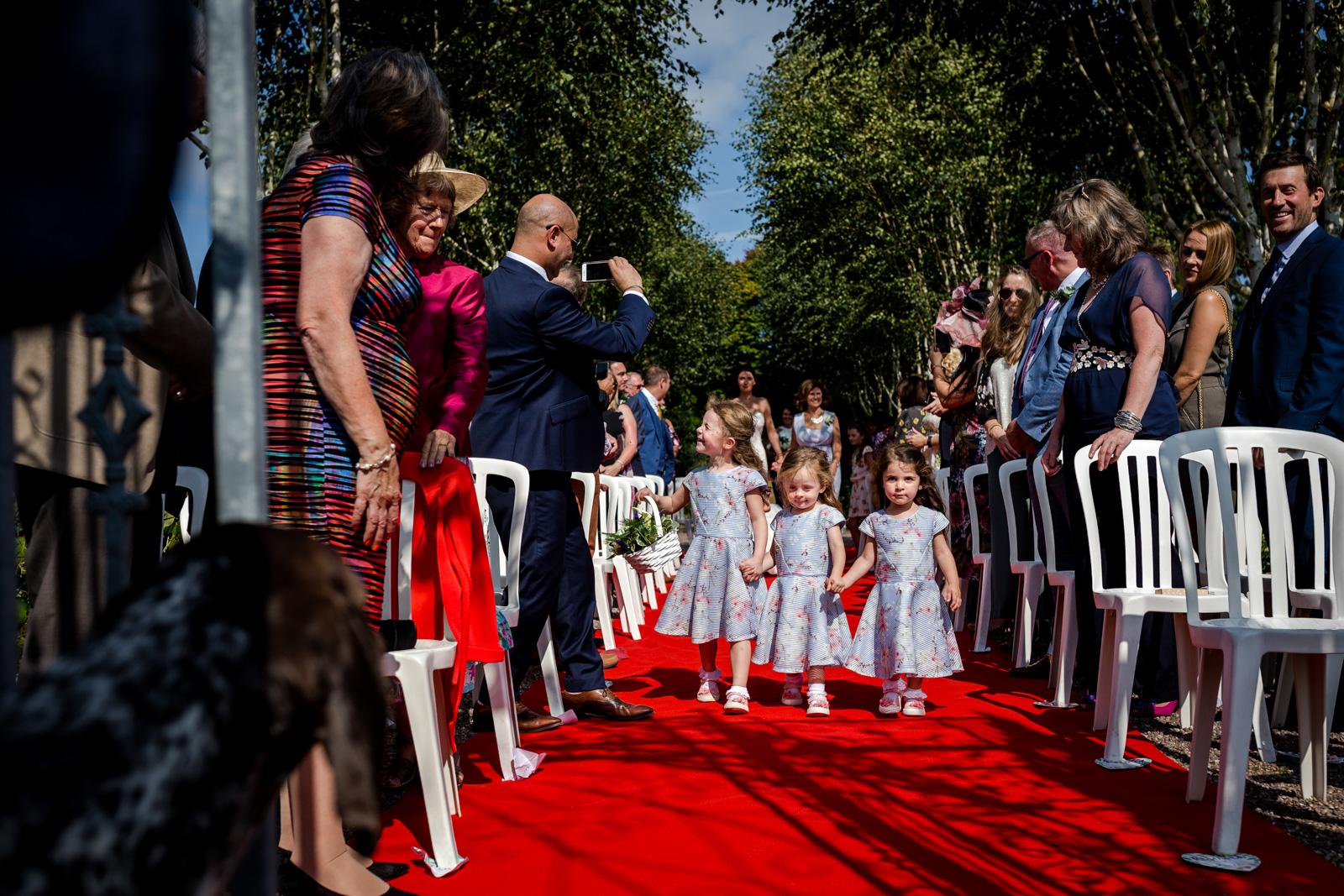Flower Girls arrive at a Capesthorne Hall Wedding