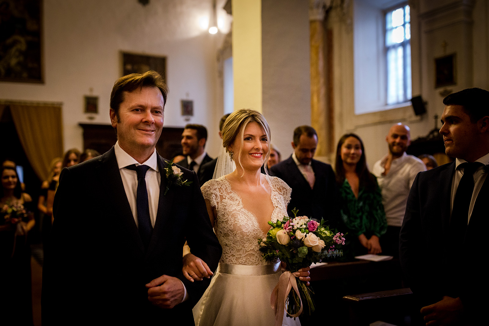 The bride arrives at her Tuscany Wedding in Siena