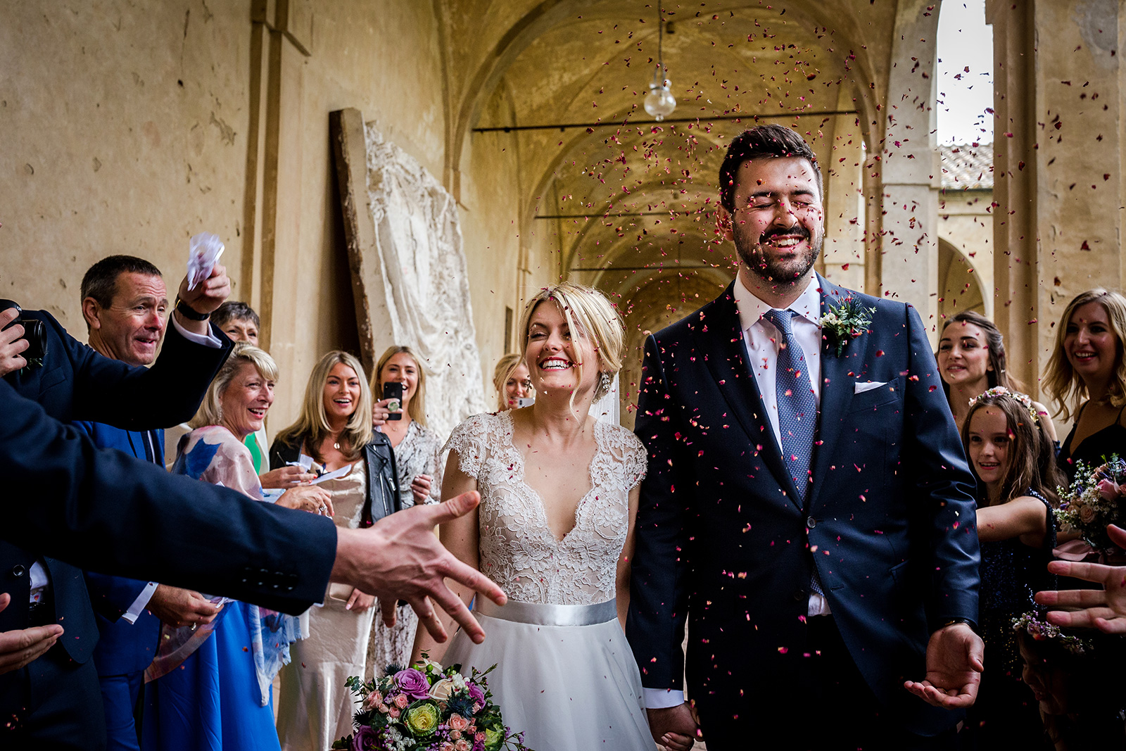Confetti after the ceremony in Siena