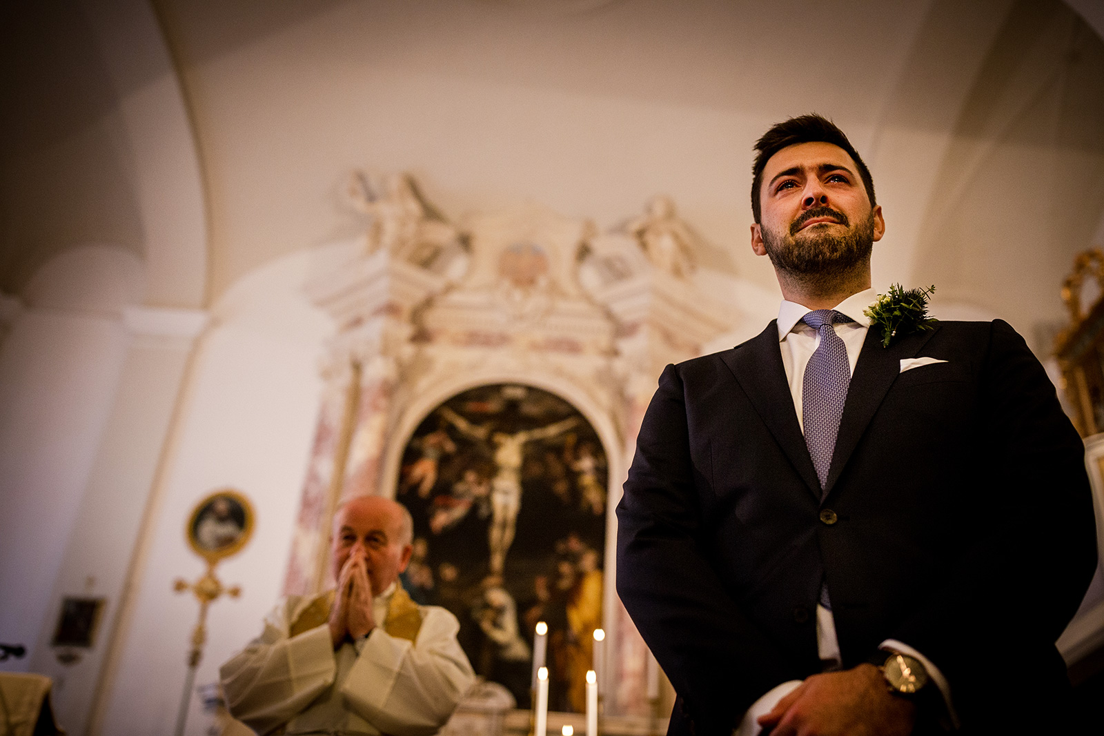 Groom in tears as his bride arrives at their Tuscany Wedding
