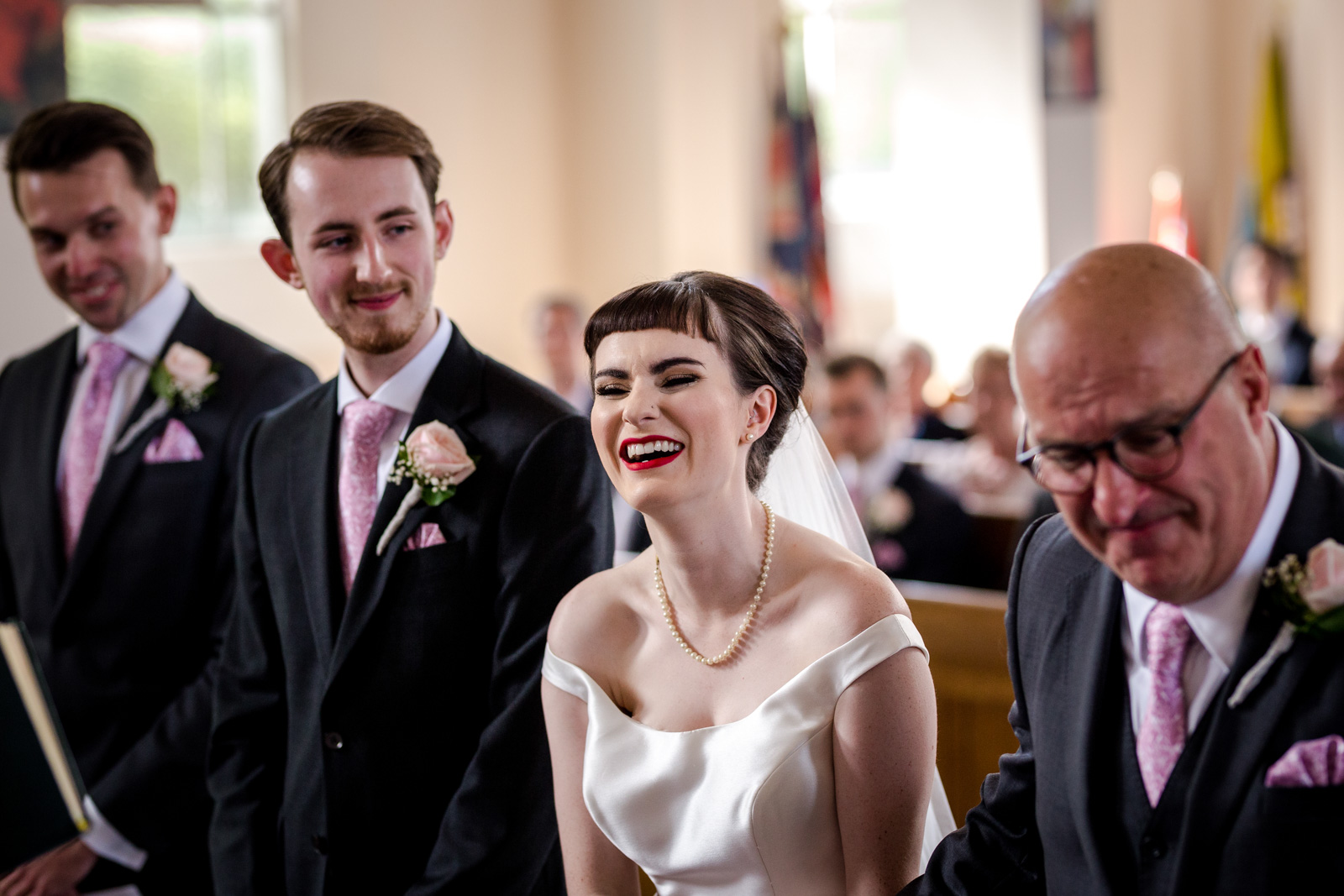 Bride and groom during their church wedding in Lancashire