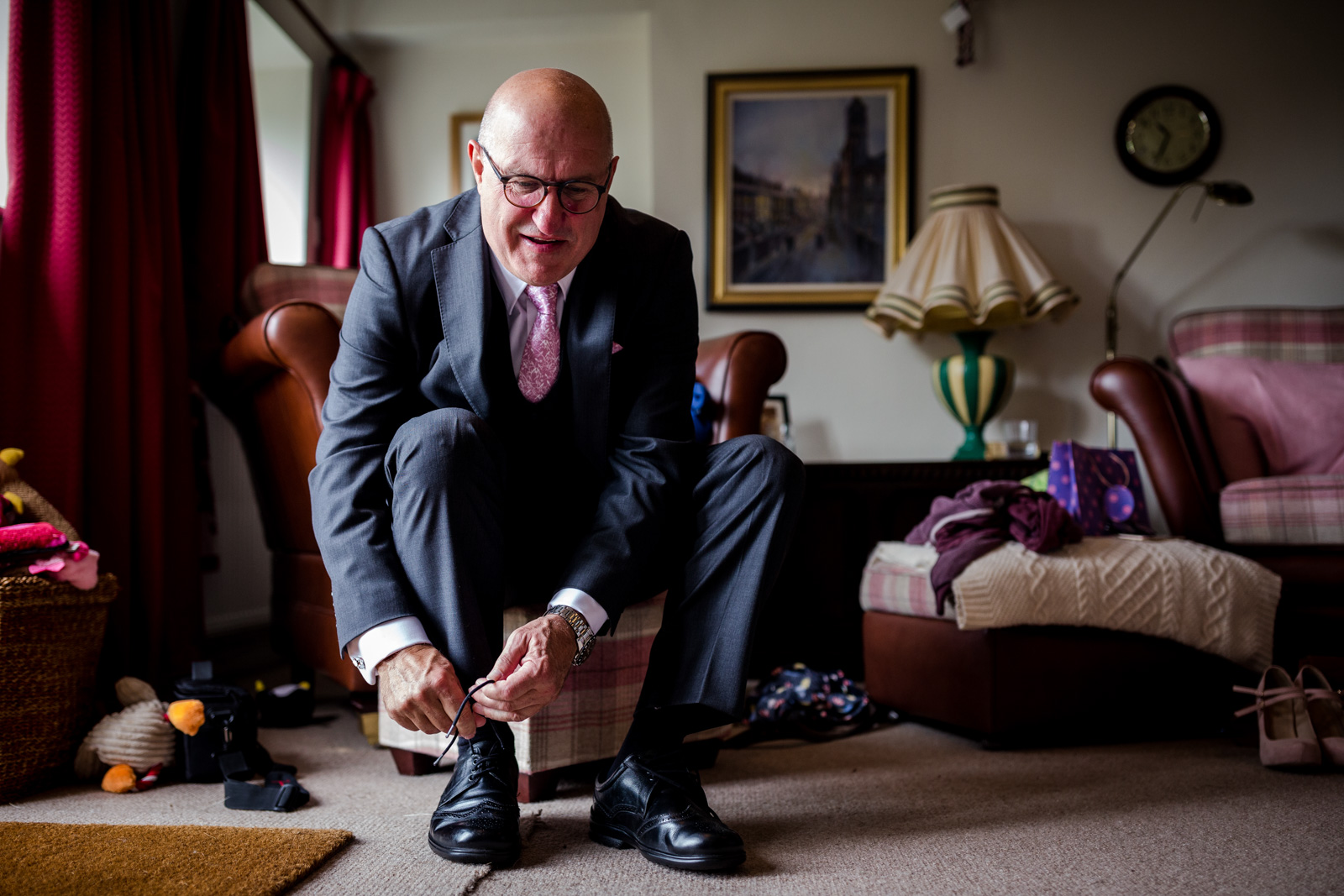 Father of the bride getting ready for a Fisherman's Retreat wedding in Lancashire