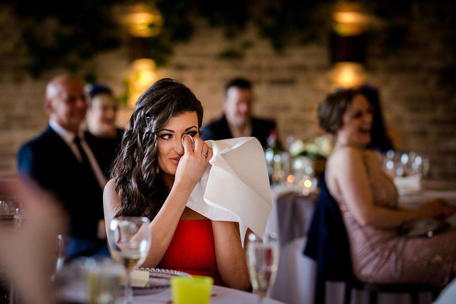 Crying bridesmaid at Hazel Gap Barn