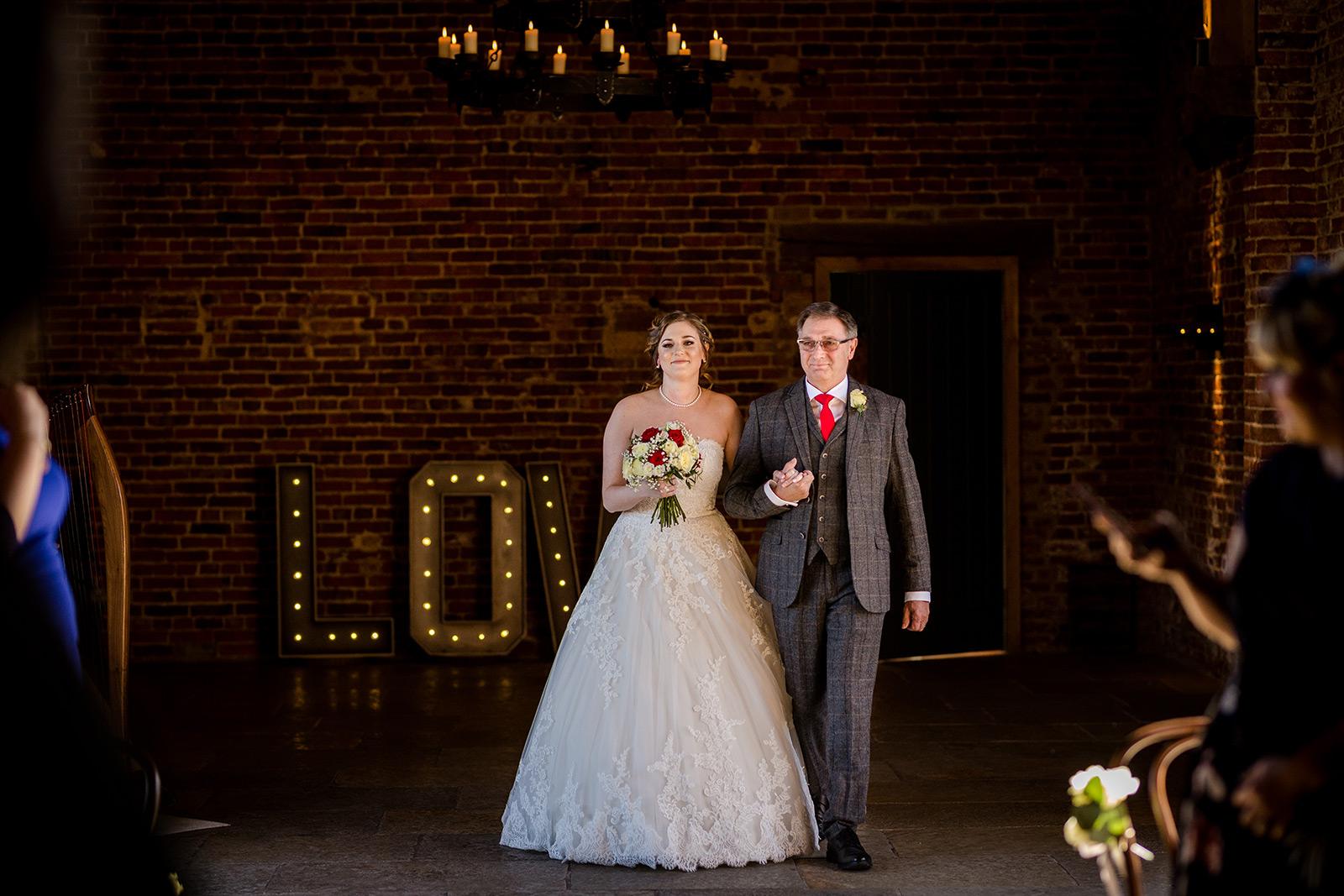 The bride arrives to her Hazel Gap Barn wedding
