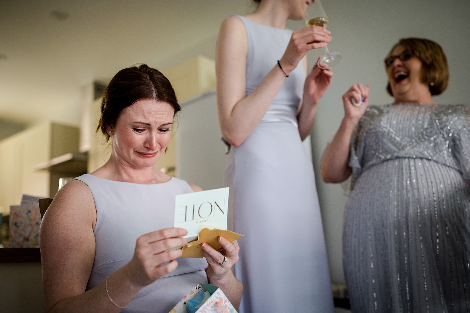 Bridesmaids during the bridal prep