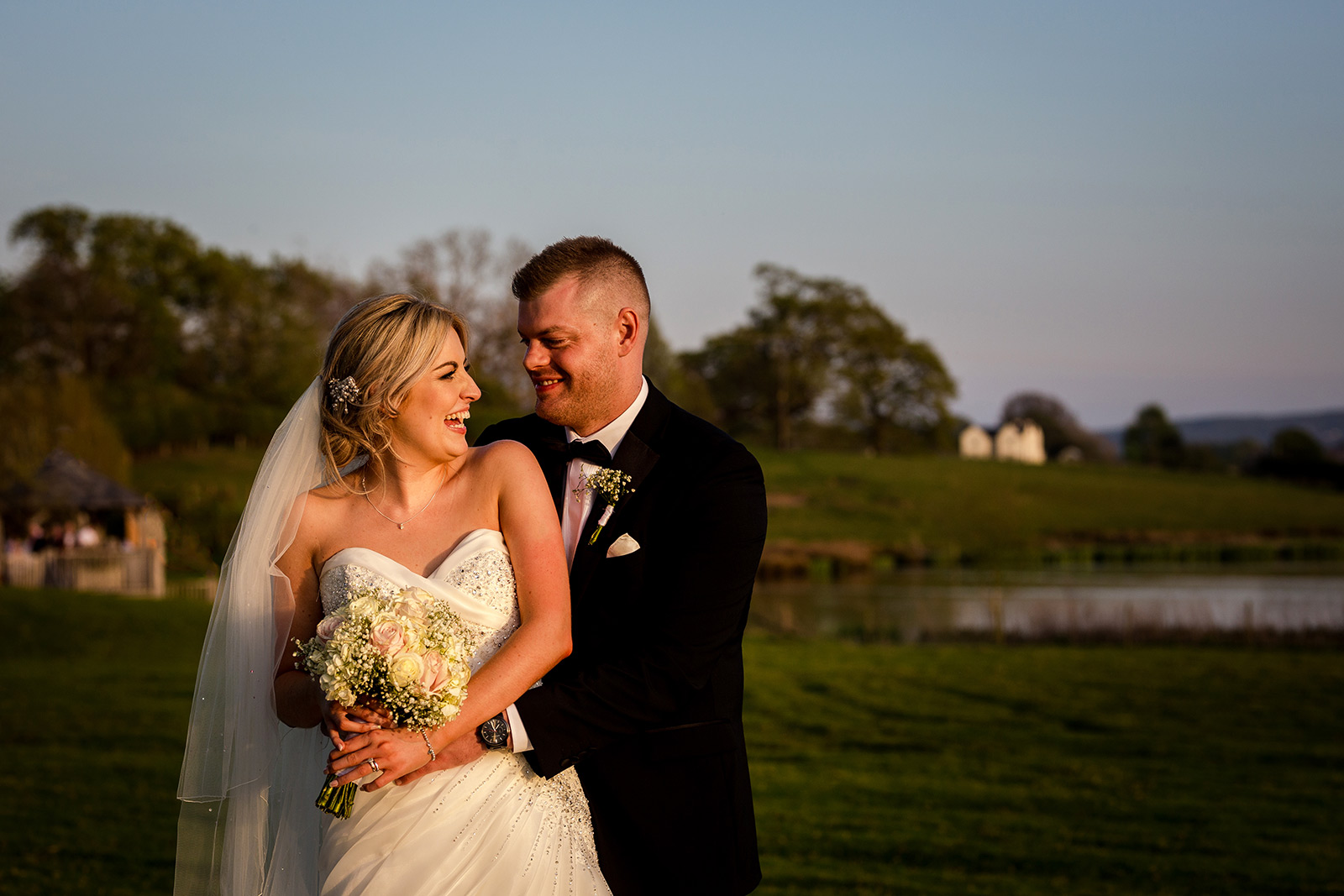 Bride and groom at their Sandhole Oak Barn Wedding