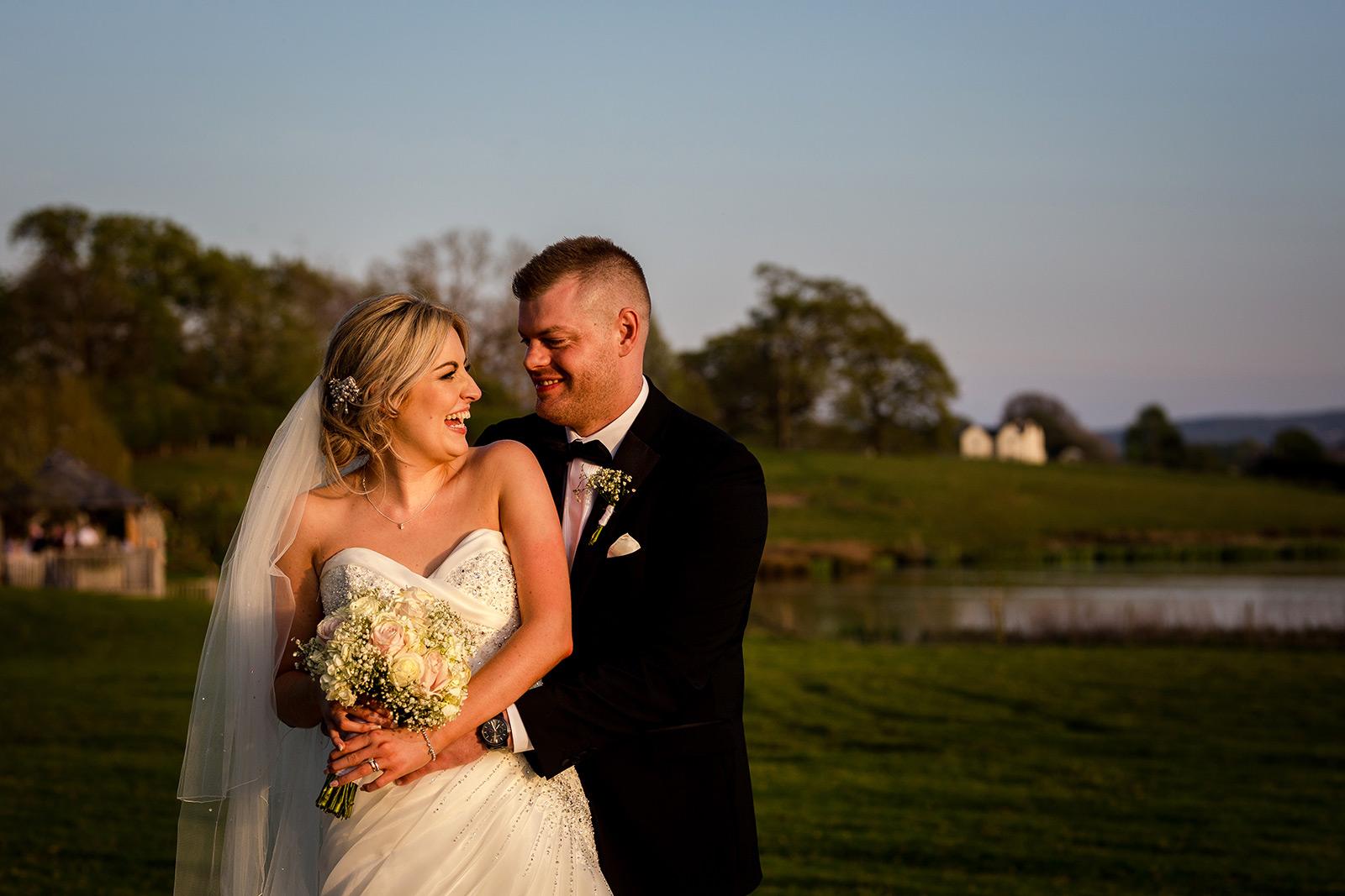Bride and groom at their Sandhole Oak Barn Wedding