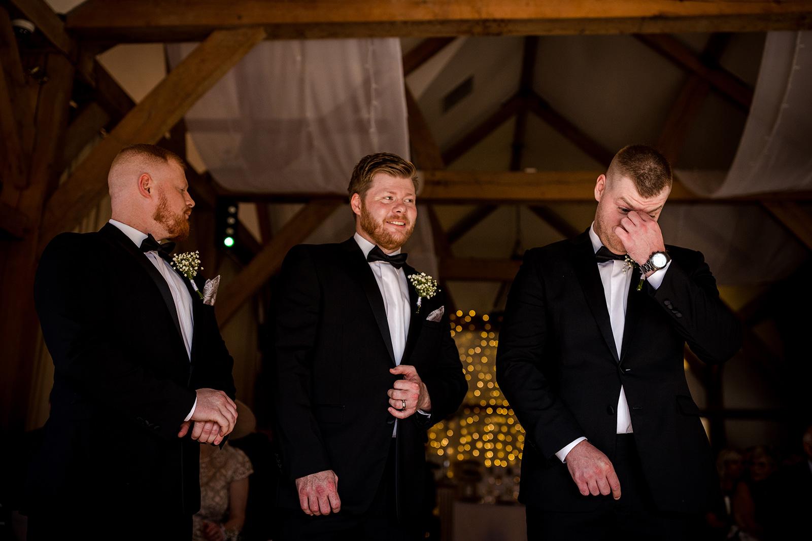 The groomsmen at a Sandhole Oak Barn Wedding