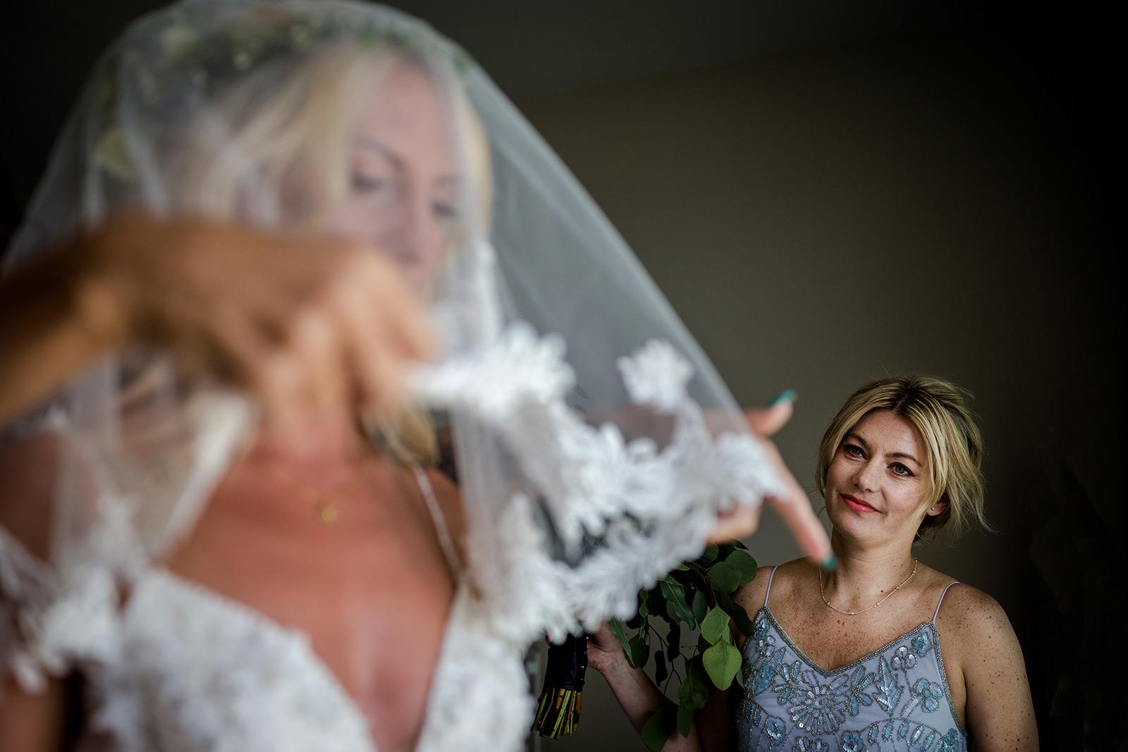 Bride and bridesmaid in Sitges