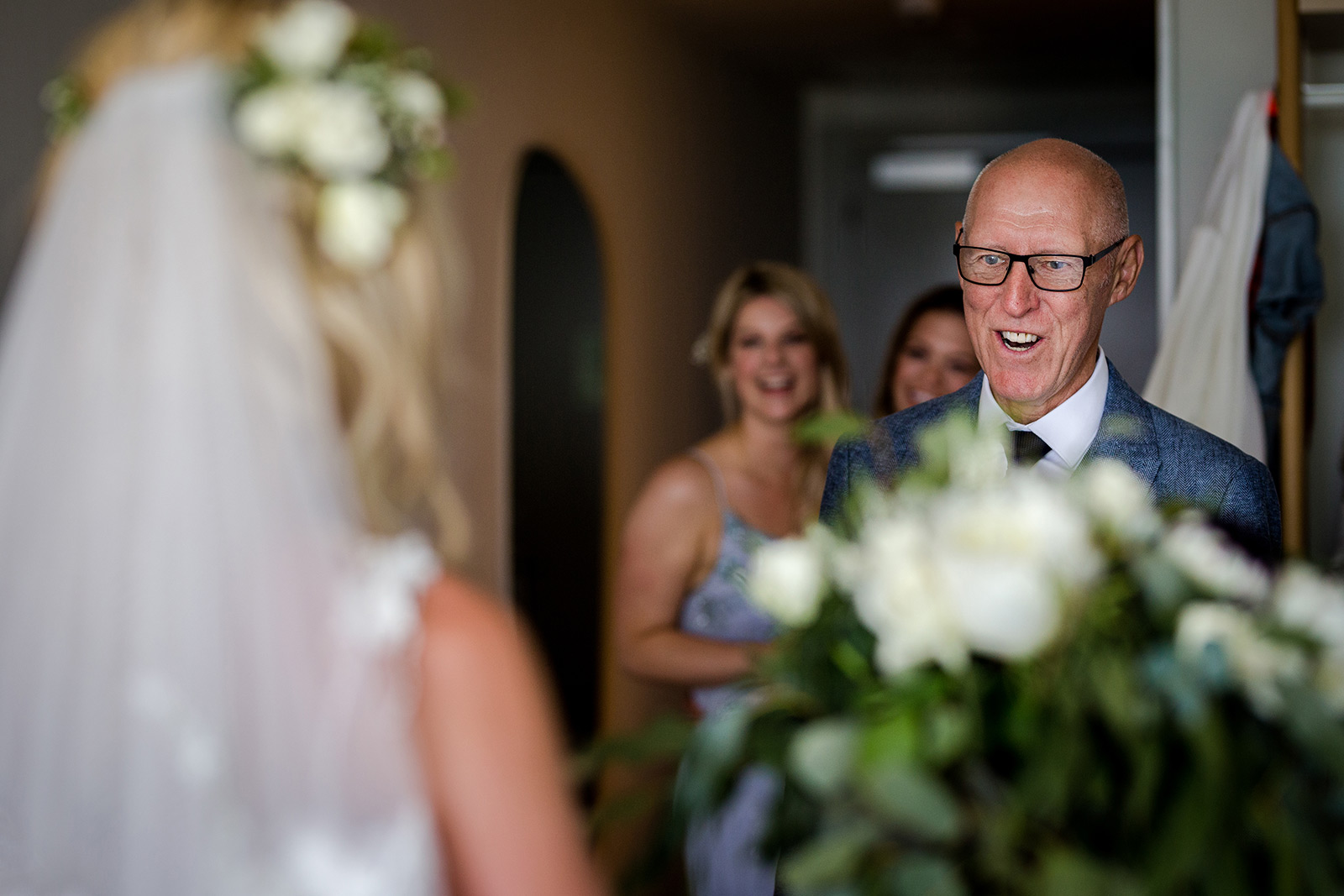 Father of the bride sees his daughter during a Torre del Veguer Wedding