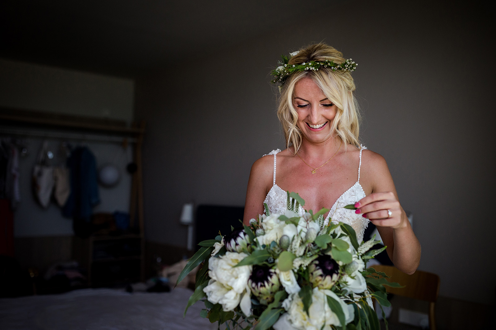 The bride with her flowers during her Torre del Veguer Wedding