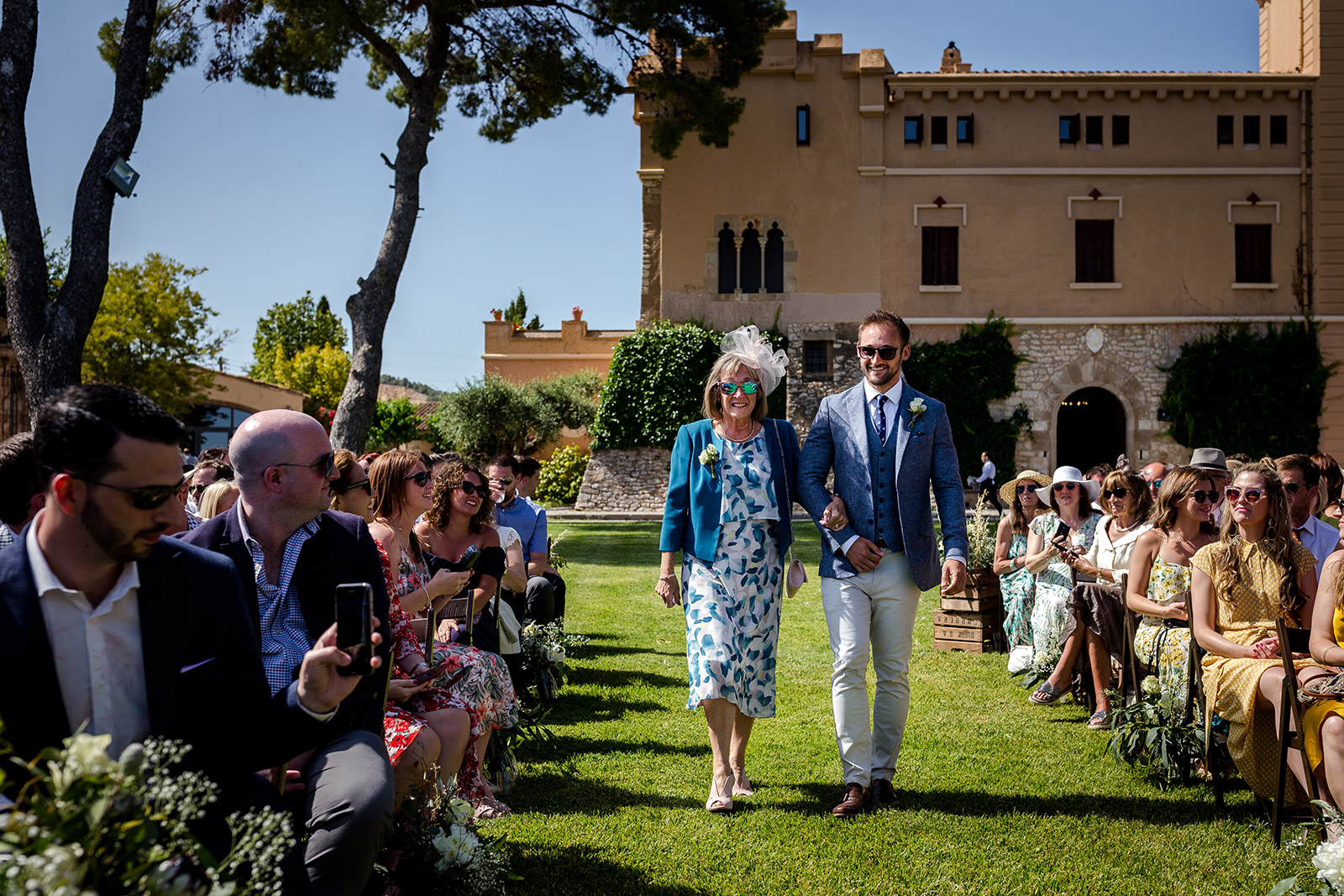 The groom with his mum at a Torre del Veguer Wedding